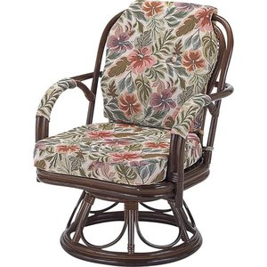 籐家具 ラタン 椅子 チェアー 座椅子 パーソナルチェア アームチェア 肘掛け椅子 回転 回転いす ラタンチェア 籐回転座椅子 ミドル s653b 幅55 奥行56 高さ73|harda-kagu