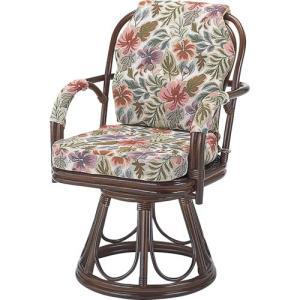 籐家具 ラタン 椅子 チェアー 座椅子 回転いす パーソナルチェア アームチェア 肘掛け椅子 回転チェア ラタンチェア 籐回転座椅子 ハイ s654b 幅55 奥行56|harda-kagu