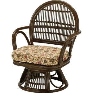 籐家具 ラタン 椅子 チェアー 座椅子 パーソナルチェア アームチェア 肘掛け椅子 回転 回転いす ラタンチェア 一人用 籐回転座椅子 ミドル s882b 幅55 奥行51|harda-kagu