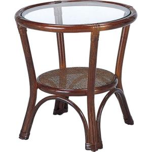 籐家具 ラタン テーブル ガラステーブル リビングテーブル センターテーブル 収納 コーヒーテーブル 籐丸テーブル 幅45cm t31bの写真