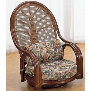 籐家具 ラタン 椅子 チェアー 座椅子 座イス パーソナルチェア アームチェア ハイバックチェア リビングチェア 回転いす 籐回転座椅子 ロー tk664b 幅57|harda-kagu