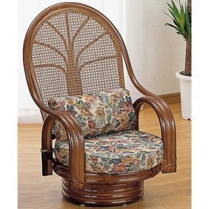 籐家具 ラタン 椅子 チェアー 座椅子 回転いす ハイバックチェア パーソナルチェア アームチェア 肘掛け椅子 籐回転座椅子 ミドル tk665b 幅57 奥行63 高さ84|harda-kagu