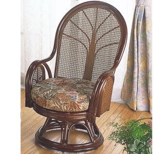 籐家具 ラタン 椅子 チェアー 座椅子 座イス ハイバック 回転いす ハイバックチェア パーソナルチェア アームチェア 籐回転座椅子 ミドル tk901 幅58 奥行64|harda-kagu