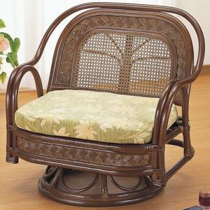 籐家具 ラタン 椅子 チェアー 座椅子 回転いす パーソナルチェア アームチェア 肘掛け椅子 籐回転座椅子 ミドル y502b 幅76 奥行62 高さ71 座面高さ34cm 中|harda-kagu