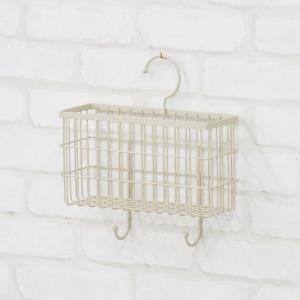 小物収納 小物入れ 完成品 壁面収納 ボックス 鍵掛け ラック フック付 ハンガーボックス アイボリー かご 籠 カゴ 壁掛けラック 壁面ラック 壁掛けボックス|harda-kagu