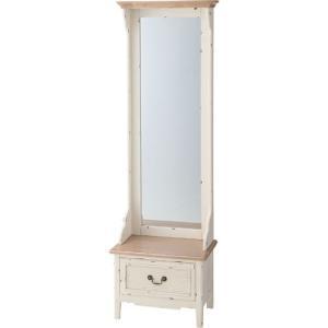 スタンドミラー 収納付き 木製 アンティーク おしゃれ カントリー ブロッサム 鏡 かがみ ミラー 姿見 全身鏡 収納付 アンティーク スタンドミラー 幅55|harda-kagu