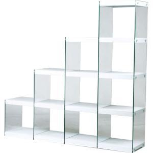 オープンシェルフ オープンラック ガラス 収納 階段 ラック 4段 ハブ ホワイト 幅164cm 高さ158cm シェルフ ディスプレイラック コレクションラック 什器 本棚|harda-kagu