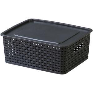 フタ付きバスケットボックス アミー S ブラック 幅36 奥行30 高さ13.5cm 収納家具 プラスチック収納ケース 収納ボックス ふた付タイプ|harda-kagu