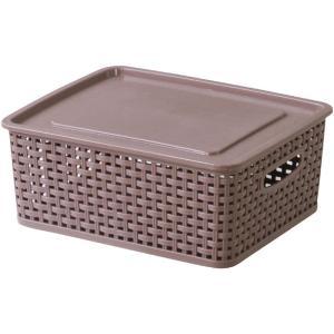 フタ付きバスケットボックス アミー S ブラウン 幅36 奥行30 高さ13.5cm 収納家具 プラスチック収納ケース 収納ボックス ふた付タイプ|harda-kagu