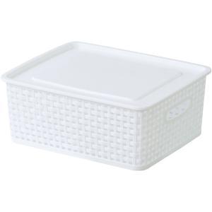 フタ付きバスケットボックス アミー S ホワイト 幅36 奥行30 高さ13.5cm 収納家具 プラスチック収納ケース 収納ボックス ふた付タイプ|harda-kagu