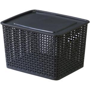 フタ付きバスケットボックス アミー M ブラック 幅36 奥行30 高さ22cm 収納家具 プラスチック収納ケース 収納ボックス ふた付タイプ|harda-kagu
