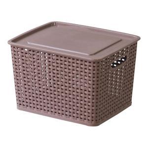 フタ付きバスケットボックス アミー M ブラウン 幅36 奥行30 高さ22cm 収納家具 プラスチック収納ケース 収納ボックス ふた付タイプ|harda-kagu