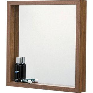 完成品 壁掛け ミラー ウォールミラー L ウォールナット 壁掛けミラー 鏡 かがみ 壁面ミラー 壁面鏡 木製フレーム 木製 シンプル 壁掛け鏡 吊鏡 洗面所 洗面鏡|harda-kagu