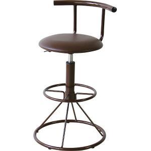 完成品 カウンターチェア 回転式 昇降 ソフトレザー 背もたれ付き キリク ブラウン 背もたれ いす イス 椅子 チェア チェアー カウンターチェアー 合皮 合成皮革|harda-kagu