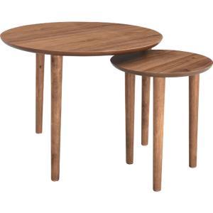 木製サイドテーブル トムテ 大小1組 ウォールナット tac-224wal 木製サイドテーブル トム...
