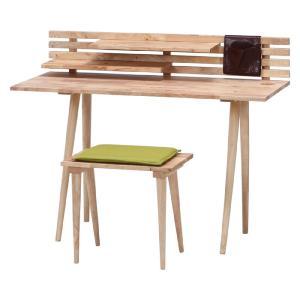 デスクセット 木製デスク&スツールセット Natural Signature 木製 アンティーク デスク リビング 大人 パソコンデスク ライティングデスク|harda-kagu