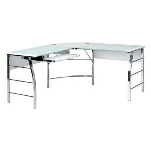 L字型ガラス天板パソコンデスク 幅156cm ホワイト テーブル 机 ワークデスク コーナーデスク 機能性デスク シンプル モノトーン 強化ガラス コードホルダー|harda-kagu