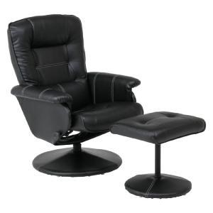 リクライニングチェア パーソナルチェア リクライニング 椅子 チェア 回転チェア オットマン付 ブラック|harda-kagu