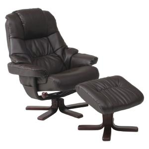 リクライニングチェア パーソナルチェア リクライニング 椅子 チェア パーソナルリクライニングチェア オットマン付 ブラウン|harda-kagu