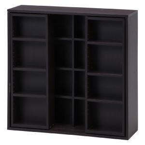 86029 本棚 書棚 スライド本棚 スライド書棚 スライド ダブルスライド本棚 幅89cm 90 コミック本棚 ブックシェルフ CDラック DVDラック 2列 ブラウン|harda-kagu