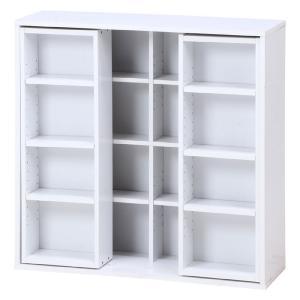 スライド本棚 2列スライド 幅89cm 高さ89cm ホワイト 本棚 スライド コミック本棚 漫画本棚 前後 収納|harda-kagu