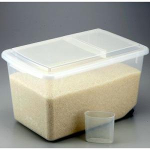 米びつ プラケース 米櫃 キャスター付き 計量カップ付き 米用 米 ケース ストッカー ボックス 10kg キッチン収納 キッチン雑貨 キッチン 雑貨 キッチン小物|harda-kagu