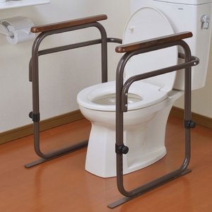 トイレ 手すり トイレ用手すり トイレの手すり トイレアーム つかまり アーム ブラウン 介護 自宅介護 補助 介助 工事不要 安全|harda-kagu