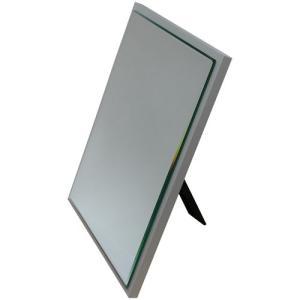 卓上鏡 卓上ミラー ミラー 鏡 卓上 日本製 完成品 ホワイト コンパクト スリム シンプル デスクミラー 幅20 角型 角 四角 スクエアミラー 置き型 薄型|harda-kagu
