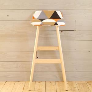 ローバックカウンタースツール ダナ テキスタイル柄オレンジ ga-dn-stool-or|harda-kagu