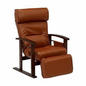 リクライニングチェア パーソナルチェア リクライニング 椅子 チェア 高座椅子 リクライニング高座椅子 ブラウン 木肘 1人掛け ソファ ソファー|harda-kagu