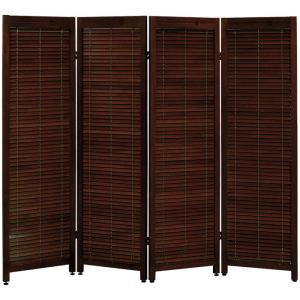 木製ルーバースクリーン4連 ブラウン MS-8124BR hg-ms-8124br 幅45 高さ150cm×4連 衝立 パーテーション パーティション 間仕切り スクリーン|harda-kagu