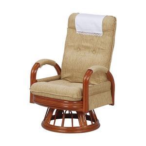 籐座椅子 リクライニングチェア 回転座椅子 回転椅子 籐回転椅子 パーソナルチェア リクライニング 椅子 チェア ハイバック ミドルタイプ ライトブラウン|harda-kagu
