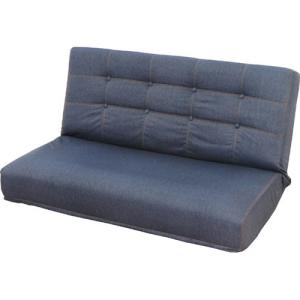 座椅子 リクライニング座椅子 2人掛け リクライニング 幅107cm デニム調 インディゴ ディーンW フロアチェアー フロアチェア ローチェア 一人掛けソファ|harda-kagu