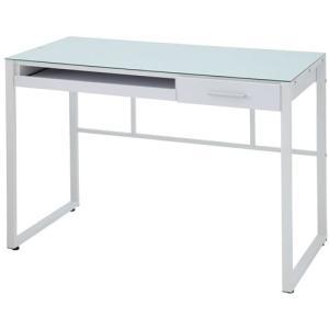 ガラスデスク リブロ 幅100cm ホワイト パソコンデスク PCデスク ガラス天板 ストール脚 スライドトレー|harda-kagu