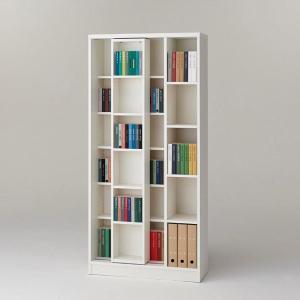 本棚 書棚 スライド本棚 スライド 日本製 完成品 ホワイト スライド書棚 ブックシェルフ シェルフ フリーラック 多目的ラック 漫画 マンガ CDラック|harda-kagu