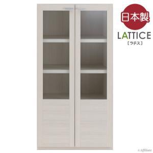 日本製 完成品 ラチス リビングキャビネット ガラス戸 幅60cm高さ114cm ホワイト 壁面収納 リビング収納 キッチン収納 壁面書斎 シェルフ ラック 棚|harda-kagu