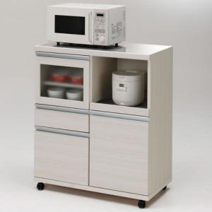 レンジ台 カウンター ステンレス張 キャスター 幅85cm 高さ99cm ホワイトウッド 完成品 キッチンボード 収納 キッチン 収納棚 キッチンラック 棚 harda-kagu