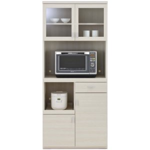 レンジ台 幅80cm 高さ180cm スマートキッチン ホワイトウッド キッチンボード ダイニングボード 家電 収納 食器棚 キッチン ダイニング キャビネット 棚 harda-kagu