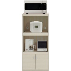 レンジ台 幅55cm 高さ118cm スマートキッチン ホワイトウッド キッチンカウンター カウンター 家電 収納 食器棚 キッチン ダイニング キャビネット 棚 harda-kagu