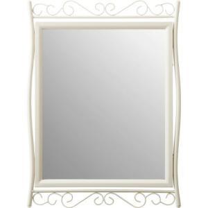 可愛いウォールミラー 鏡 スチールフレーム ララ アイボリー vl- 幅500 奥行20 高さ680mm 雑貨 ドレッサー|harda-kagu