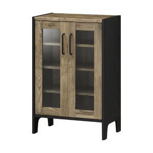 キャビネット サイドボード 戸棚 本棚 食器棚 ヴィンテージ調 ガラス戸 ビエンテージ 60 幅59cm 高さ89cm おしゃれ 収納棚 棚 カップボードの写真