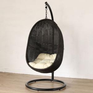 屋外対応ハンギングチェア スモール グレー×クッション:ホワイト ハンモックチェア ソファー 椅子 イス スタンド パーソナルチェア アウトドアリビング 撥水|harda-kagu