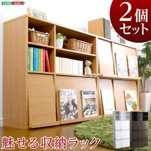 ディスプレイラック 本棚 フラップラック 本収納 2ドア 4ドア 扉 2枚 4枚 収納家具 コミック収納 フラップ扉 隠す 魅せる 壁一面 収納 雑誌 A4ファイル 収納棚|harda-kagu