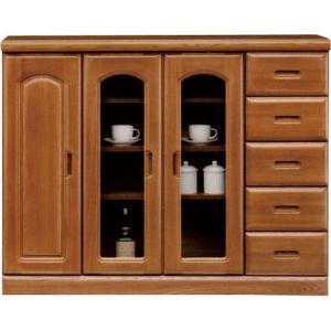 キャビネット サイドボード 戸棚 本棚 食器棚 チェスト Nサーバー 幅119cm 高さ94cm ブラウン ガラスキャビネット 収納棚 棚 カップボード リビングボード harda-kagu