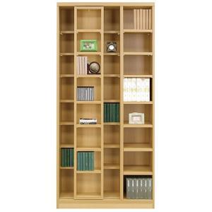本棚 書棚 スライド本棚 幅85cm 高さ180cm ライトブラウン シェルフ キャビネット 棚 収納棚|harda-kagu