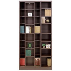 本棚 書棚 スライド本棚 幅85cm 高さ180cm ダークブラウン シェルフ キャビネット 棚 収納棚|harda-kagu