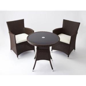 高級人工ラタン クッション付テーブルチェアセット 3点セット 茶 人工ラタン ウィッカー ガーデンファニチャー 03BT-S3 送料無料|harebare-shop