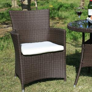 クッション付ガーデンチェア 茶色 椅子 Chair 手編み高級人工ラタン ウィッカー ガーデンファニチャー 16BT-C 送料無料|harebare-shop