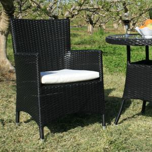 クッション付ガーデンチェア 黒色 椅子 Chair 手編み高級人工ラタン ウィッカー ガーデンファニチャー 17BT-C 送料無料|harebare-shop