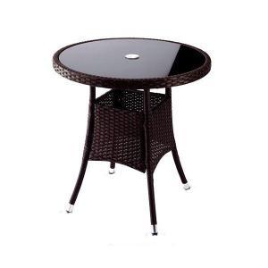 選べる2色 ガーデンテーブル 強化ガラス パラソルホール付 机 Table 人工ラタン ウィッカー ガーデンファニチャー 32BT-T 送料無料|harebare-shop